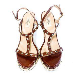 Valentino Rockstud Ankle Strap Wedge Sandal